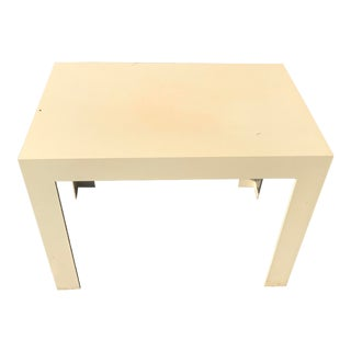 1970s Kartell Style Mid Century Cream Plastic Parsons Table For Sale