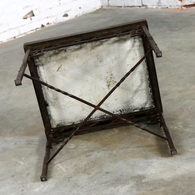 Art Deco Wrought Iron and Tile Side Table California Style Tiles For Sale - Image 6 of 11