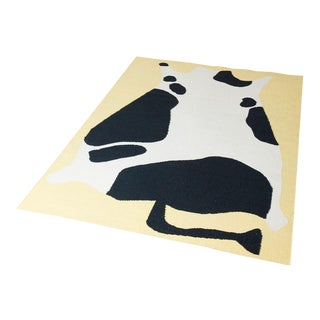 Cold Picnic Cow Flate Weave Rug - 6′ × 9′ For Sale