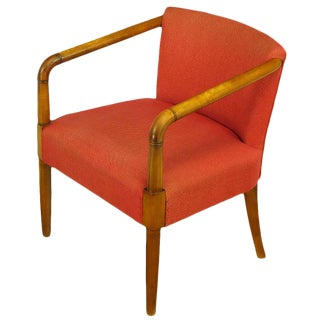 Mahogany & Crimson Upholstered Slope-Arm Desk Chair For Sale