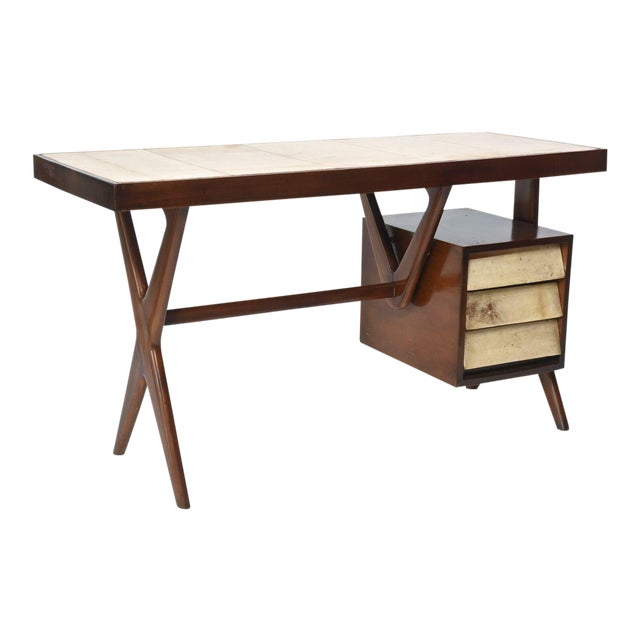 Italia Modern Mahogany and Parchment Desk, Silvio Cavatorta For Sale