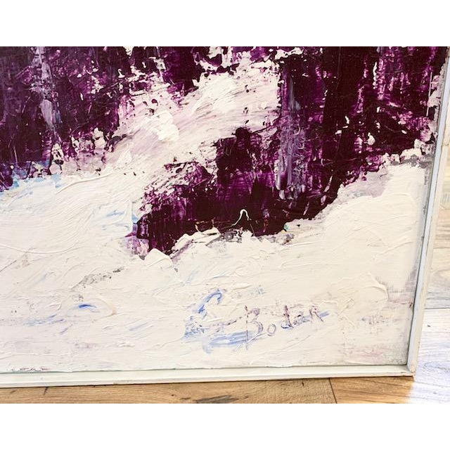 Acrylic Paint Large Mid Century Abstract Painting - Bright Landscape, Signed Boden For Sale - Image 7 of 10