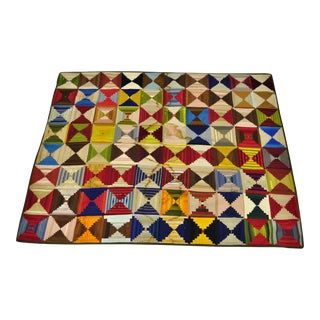 19th Century Antique Folk Art Handmade Quilt For Sale