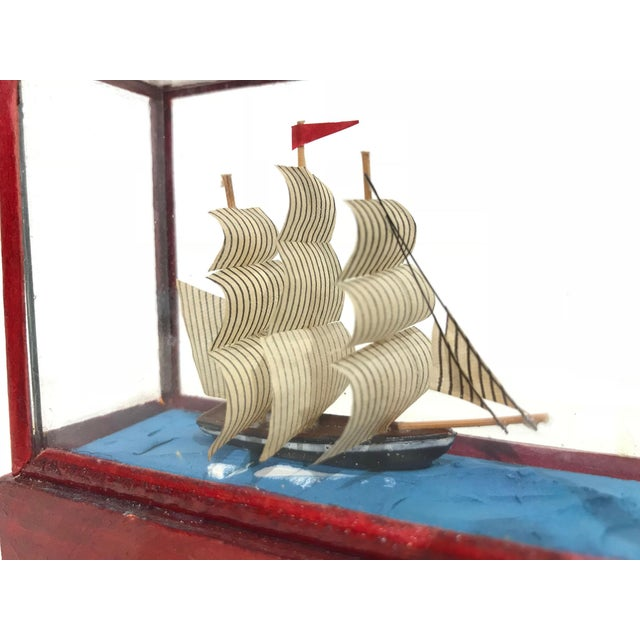 Miniature Model Sailing Ship in Wood & Glass Case - Image 8 of 11