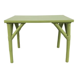 1970s Boho Chic Apple Green Bamboo Side Table For Sale