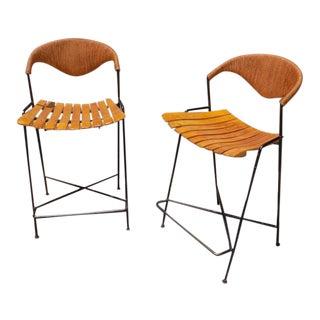 Arthur Umanoff Wrought Iron Bar Stools- a Pair For Sale
