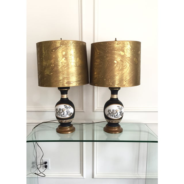 Black Porcelain Lamps with Gold Shades - A Pair - Image 2 of 11