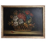 Image of A Still Life Painting of a Basket of Flowers For Sale