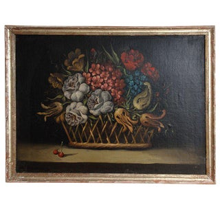 Still Life Painting of a Basket of Flowers For Sale