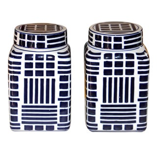 Small Blue & White Ginger Jars - a Pair