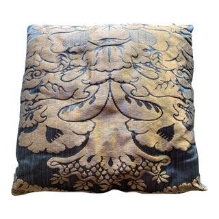 Traditional Dark Blue Velvet Square Decorative Pillow For Sale