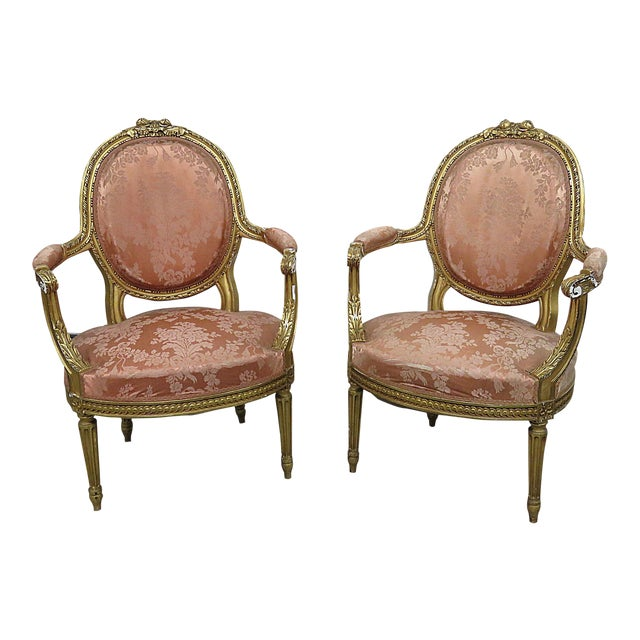 French Regency Style Arm Chairs - a Pair For Sale