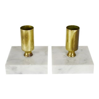 Vintage Modern Brass Solid Marble Stone Candlestick Candle Holders - a Pair For Sale
