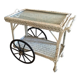 Wicker and Glass Bar Cart For Sale