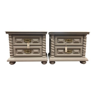 Vintage Grey Side Tables - A Pair