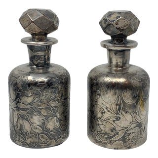 Victorian Sterling Overlay Scent Bottles - a Pair For Sale