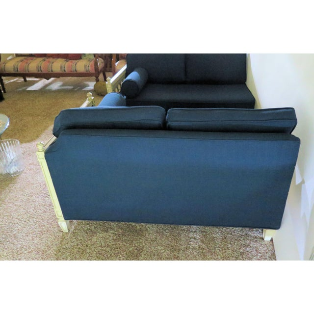 Distressed Frame Royal Blue 2 Piece Sofa For Sale - Image 4 of 9