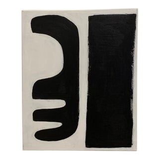 "Original Graphic Black and White ""Abstract Forms"" Painting For Sale"