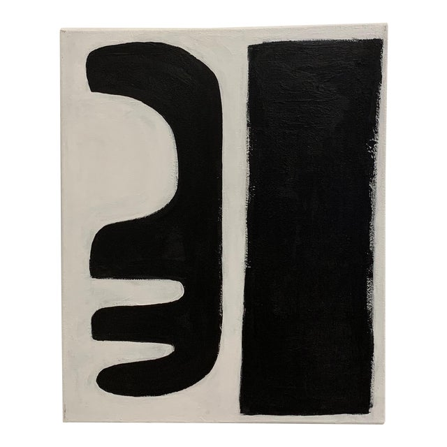 """Original Graphic Black and White """"Abstract Forms"""" Painting For Sale"""