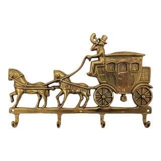 20th Century Italian Brass Horse and Carriage Wall Hooks For Sale