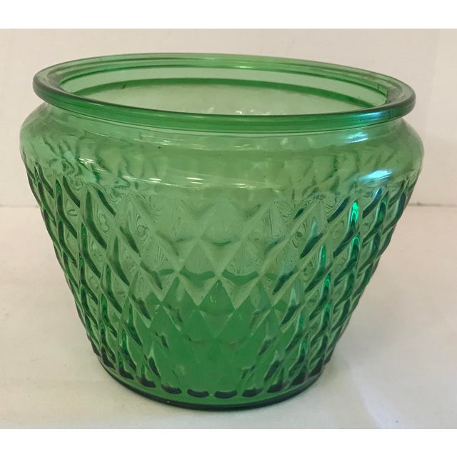Mid Century green glass bowl shaped vase or planter. 6