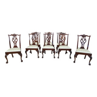 Stickley Ball & Claw Chippendale Mahogany Dining Room Chairs - Set of 8 For Sale