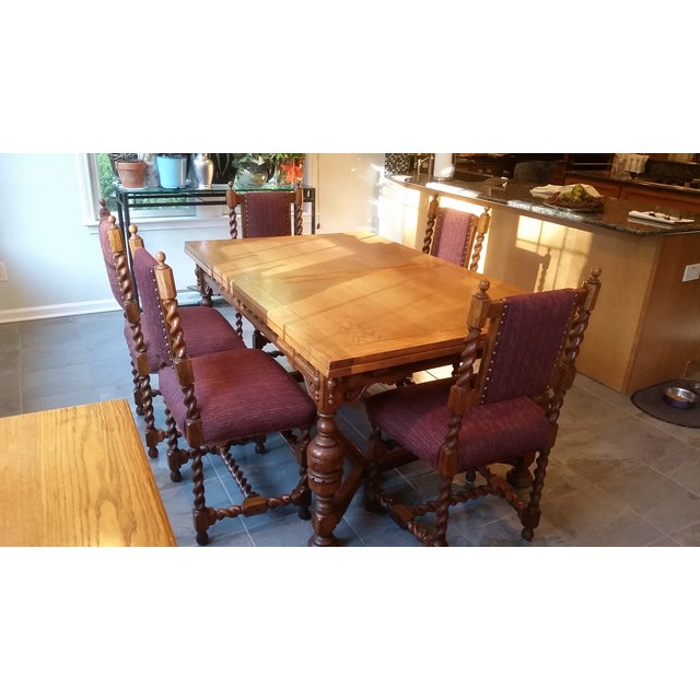 Antique Jacobean Revival Style Dining Set - Image 3 of 8