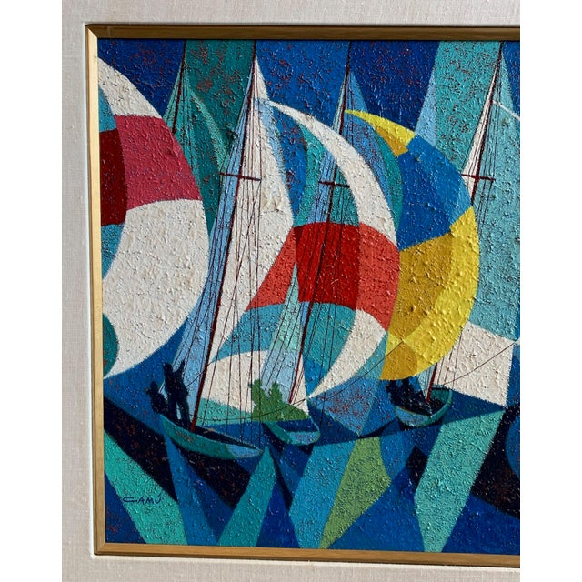 Abstract 1970s Vintage Camú Spinnakers Original Signed Oil Painting For Sale - Image 3 of 7
