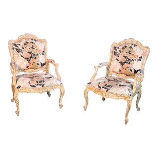 Pair of Distressed Louis XV Style Fauteuils For Sale