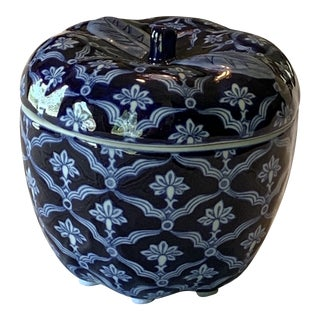 Bombay Blue and White Ceramic Apple Box For Sale