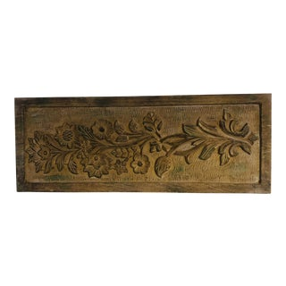 Carved Wood Wall Plaque For Sale