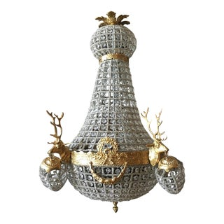French Louis XVI Deer Head Chandelier
