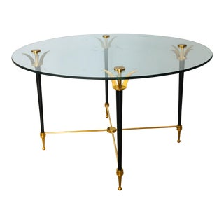 Vintage Italian Circular Side Table With Brass Detail For Sale