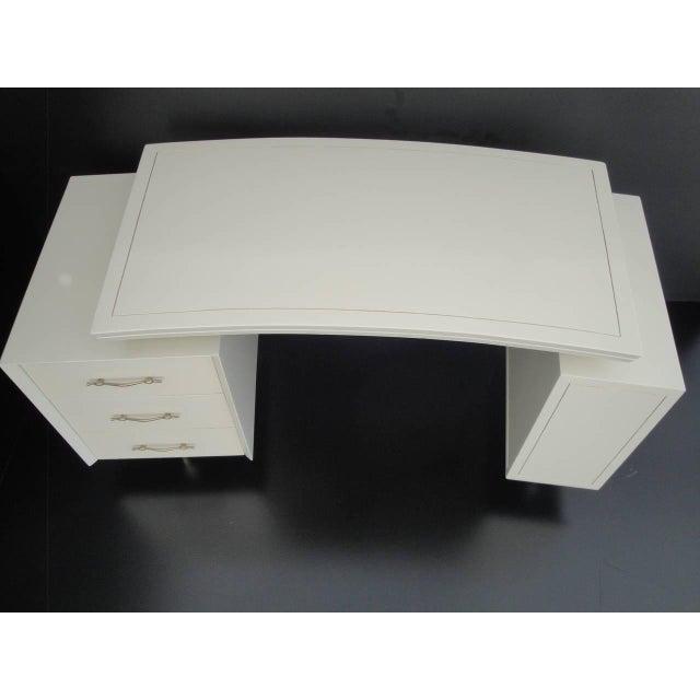 Boho Chic 1960s Mid Century Modernist Floating Top Curved Partner Desk For Sale - Image 3 of 11