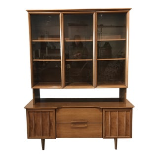 1960s Vintage Petite Mid-Century Blonde Walnut China Cabinet For Sale