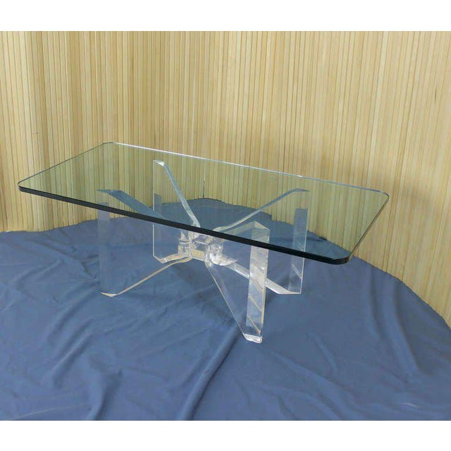 Mid Century Modern Lucite Base And Glass Top Butterfly Coffee Table