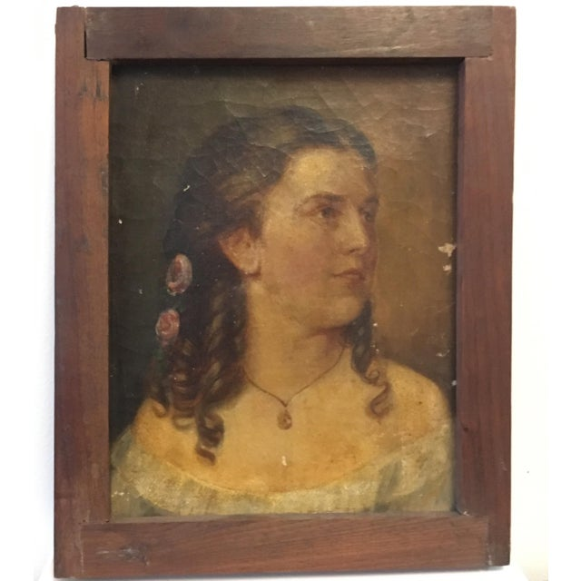 Antique Oil Portrait Painting of a Victorian Woman - Image 1 of 2