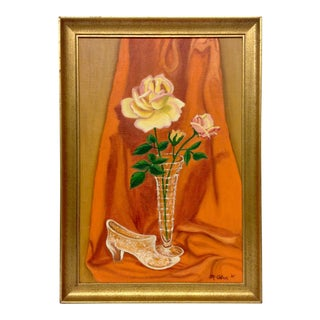 Framed 1969 Mid-Century Oil Painting For Sale