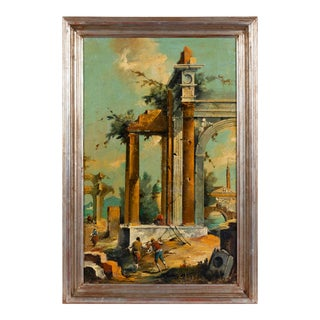 Grand Tour Style Italian Roman Ruins Painting by Silvano Chellini For Sale