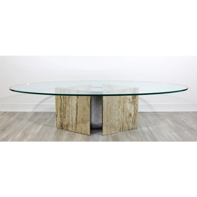 For your consideration is a marvelous coffee table on a marble and chrome base, with a surfboard shaped glass top, made in...