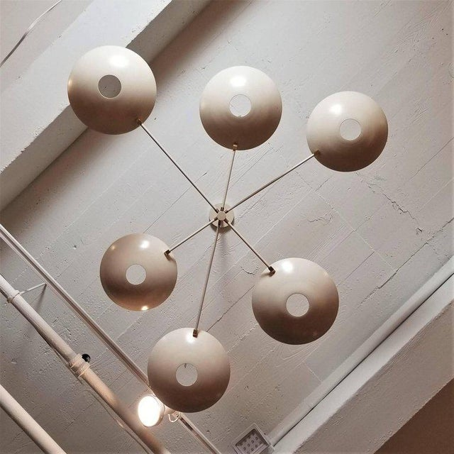 Blueprint Lighting Large 'Counterbalance' Chandelier in White Enamel + Brass by Blueprint Lighting For Sale - Image 4 of 11