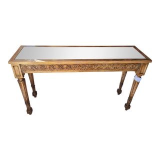 Regency Style Designer Giltwood Console Table w Mirror Top For Sale