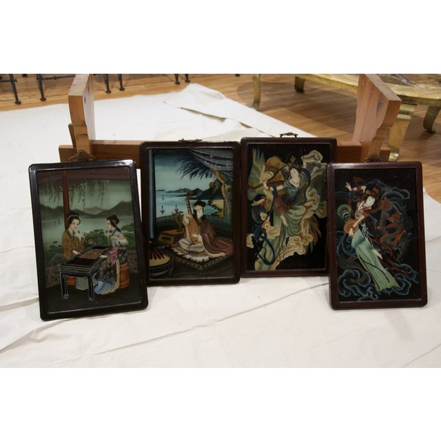 19th Century Reverse Paintings on Glass - Set of 4 - Image 2 of 5