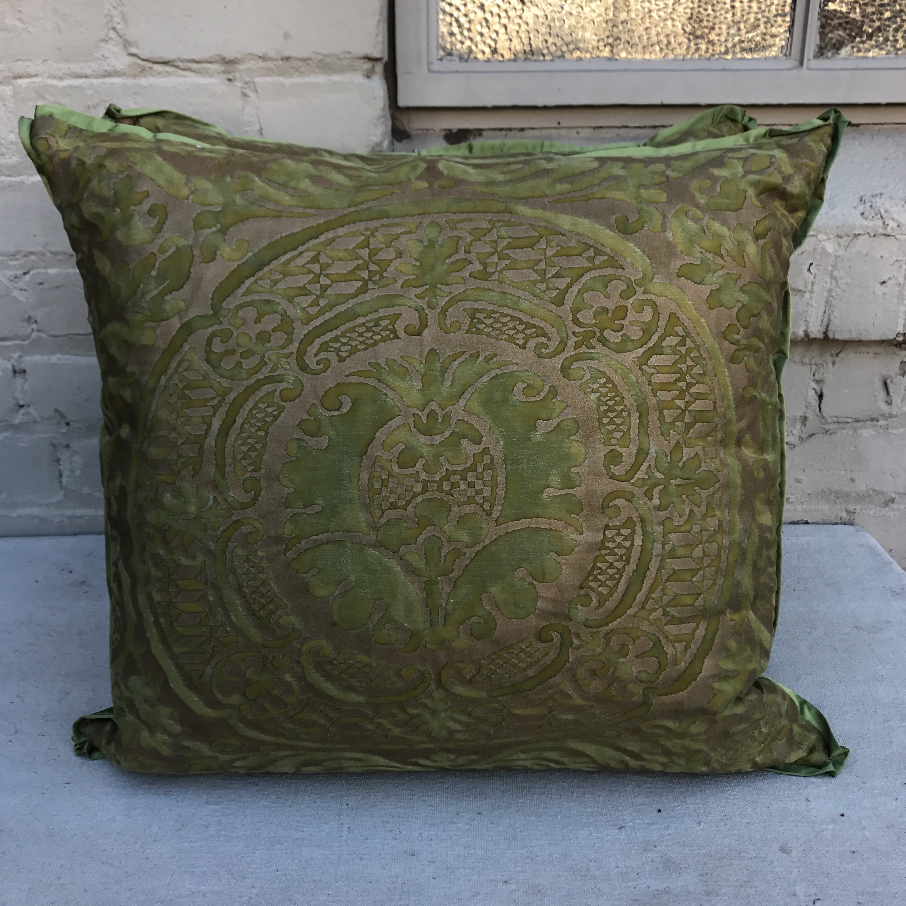 Orsini Green U0026 Gold Fortuny Pillows   A Pair   Image 2 ...