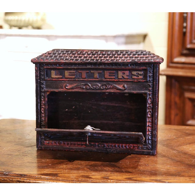 19th Century English Black Painted Cast Iron Wall Mailbox With Relief Decor For Sale - Image 4 of 10