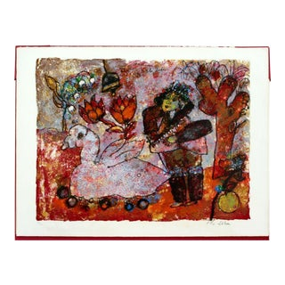 Mid Century Modern Unframed Theo Tobiasse Lithograph 224/350 h.c Anderson For Sale