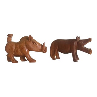 Vintage African Mid-Century Hand Carved Teak Hippo & Warthog Figures- A Pair For Sale