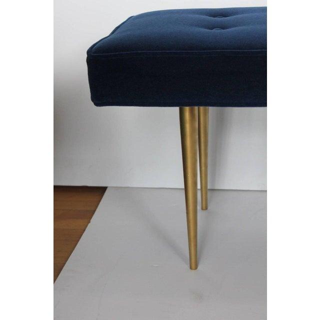 Midcentury Italian Gio Ponti style mohair and brass bench