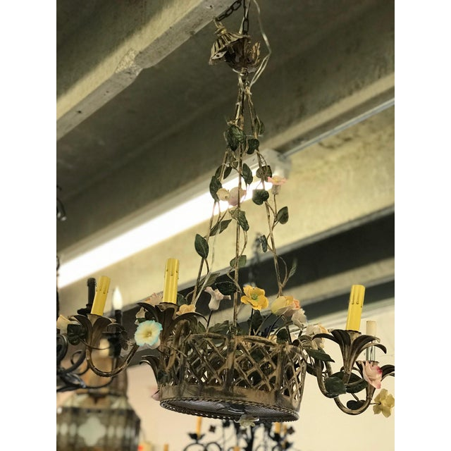 Vintage Metal Floral Chandelier - Image 3 of 5