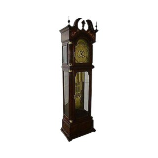 Charles Sligh Mahogany Inlaid 9 Tube Grandfather Clock (Aa) For Sale